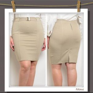 Dresses & Skirts - Coming Soon Khaki Bodycon Skirt with Belt